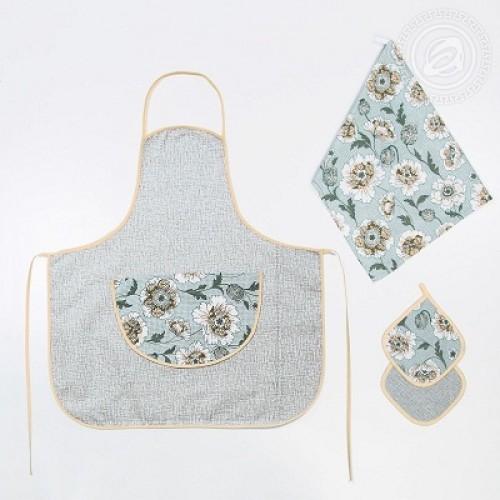 Набор для кухни №3 Флейта 4пр. полотенце фартук прихватки (2шт)