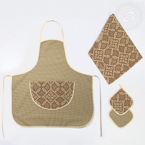 Набор для кухни №3 Алевтина 4пр. полотенце фартук прихватки (2шт)