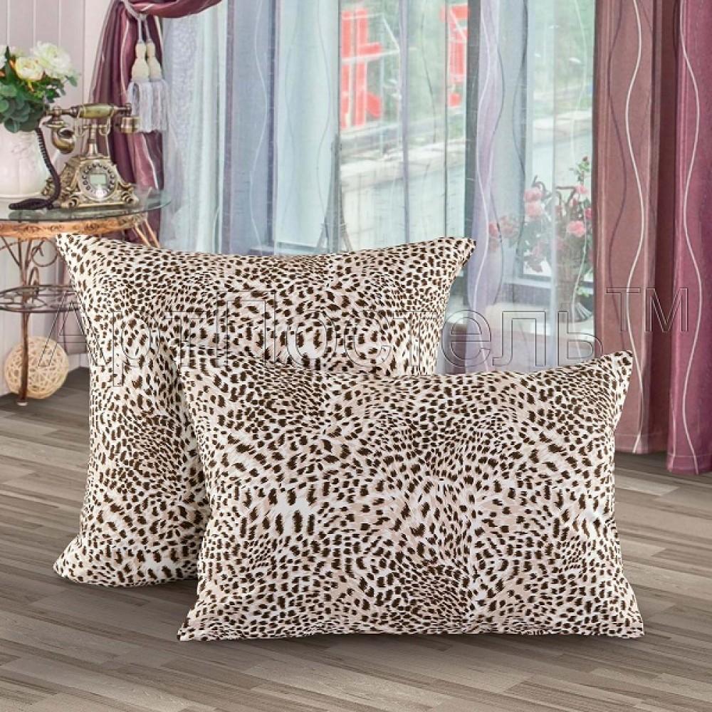 Наволочка  АртП 70*70 (2) леопард трикотаж на молнии 100% хлопок
