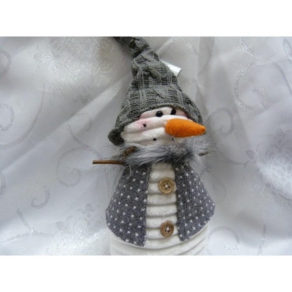Декор Снеговик в колпачке 20 см полиэстер