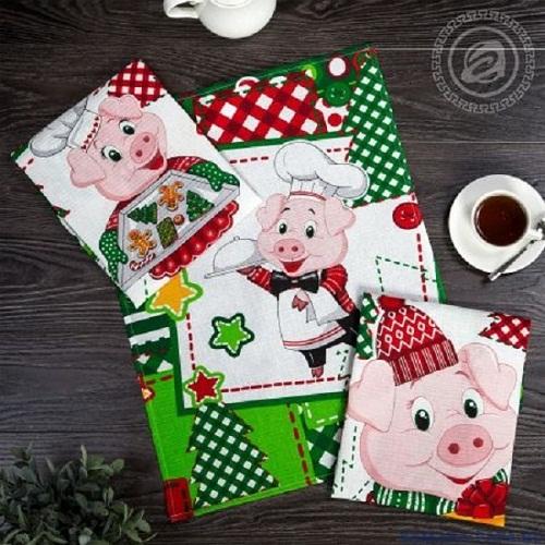 Набор полотенец кухонных Три поросенка АртДизайн 3 шт 45*60