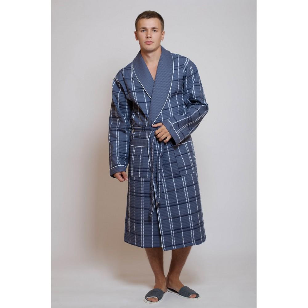 Халат муж/жен ДУ вафельн кимоно р.50  Серый