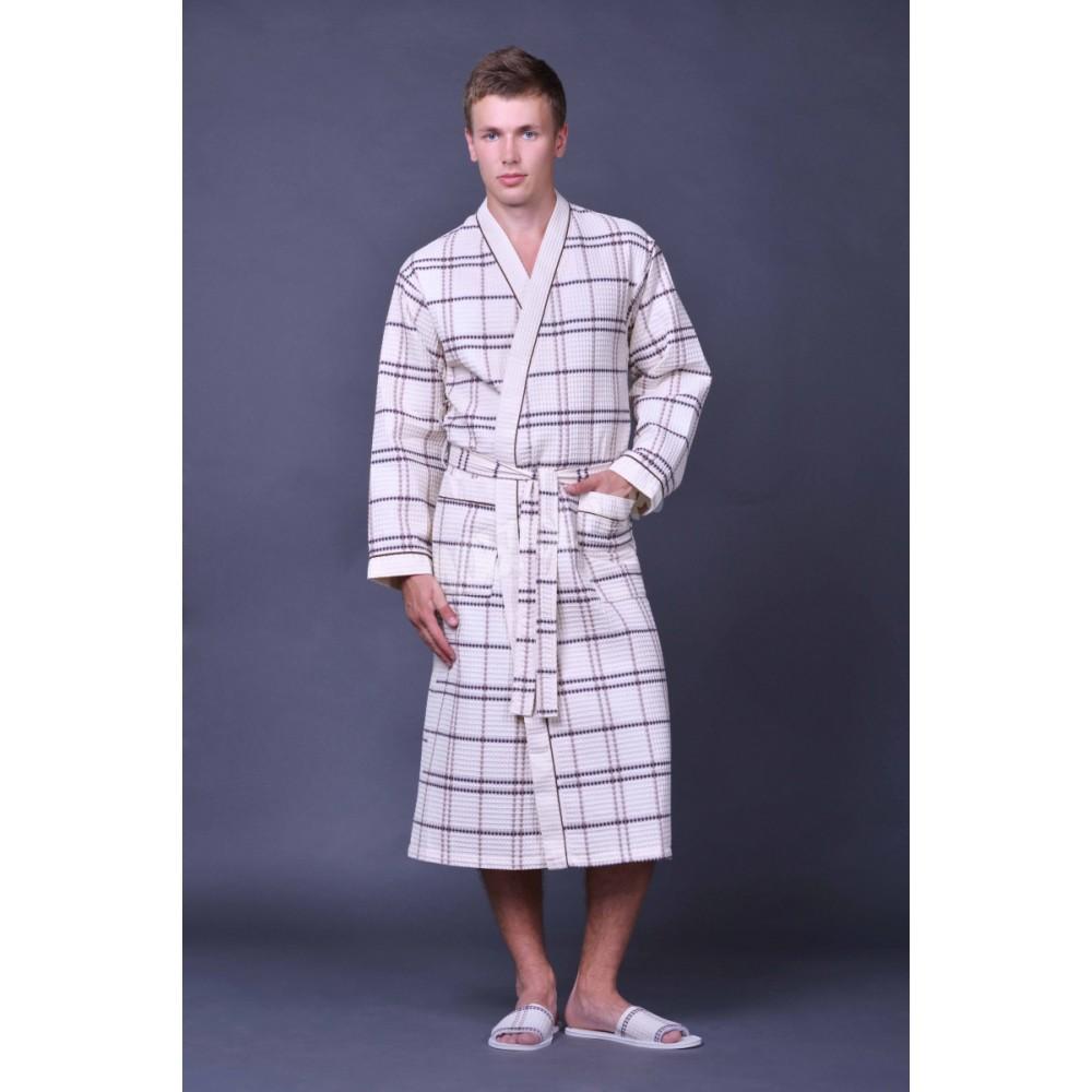 Халат муж/жен ДУ вафельн кимоно р.50  Беж