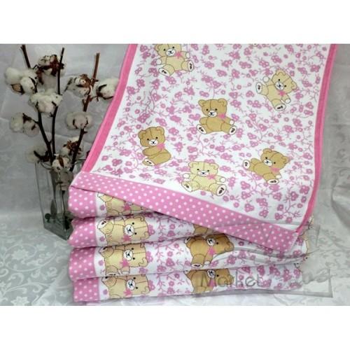 Полотенце Bolangde 100*150 Детское Мишки 78 розовый в упаковке