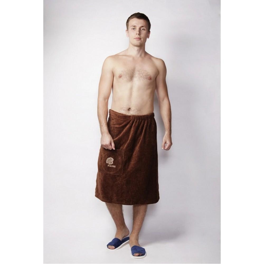 Полотенце-накидка Ду Велюр мужская Коричневый с вышивкой