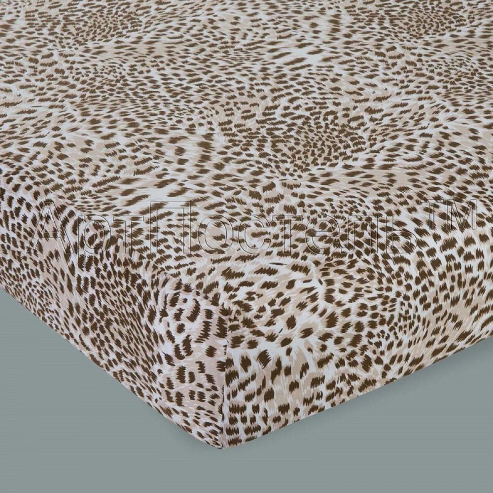 Простыня на резинке АртП трикотаж  90*200*20 леопард