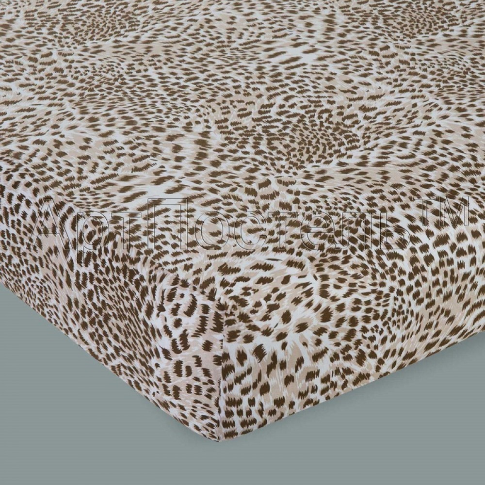 Простыня на резинке АртП трикотаж 140*200*20 леопард