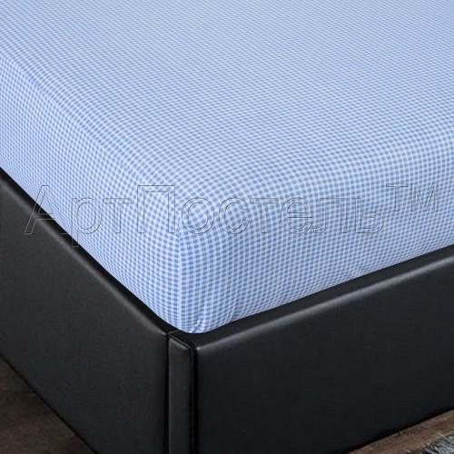 Простыня на резинке АртП трикотаж  90*200*20 клетка гол