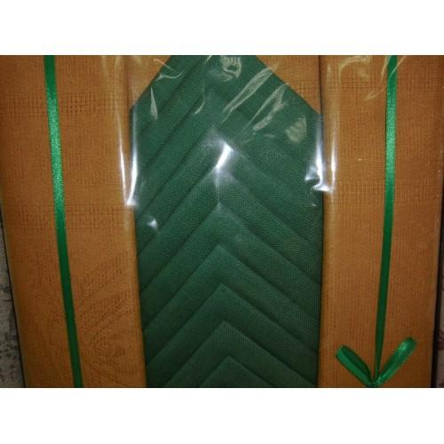 Скатерть+12 салфеток Россия лен/хл 150*250 Горчичный+зеленый