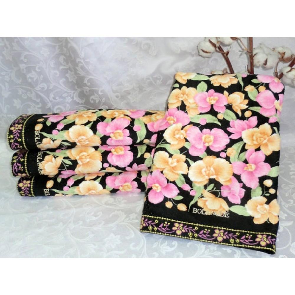 Полотенце Bolangde  70*140 Цветы 31 черный