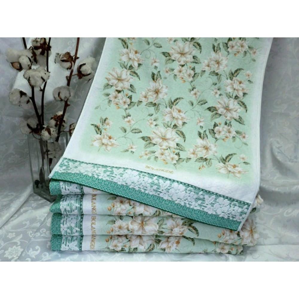 Полотенце Bolangde 100*150 Цветы 15 зеленый в упаковке