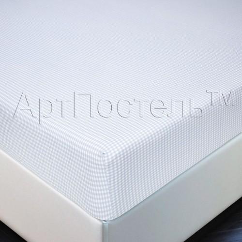 Простыня на резинке АртП трикотаж  90*200*20 клетка серая