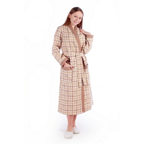 Халат женский ДУ вафельный р.50 беж клетка кимоно (Донецк)