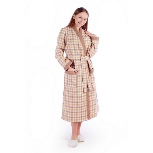 Халат женский ДУ вафельный р.56 беж клетка кимоно (Донецк)