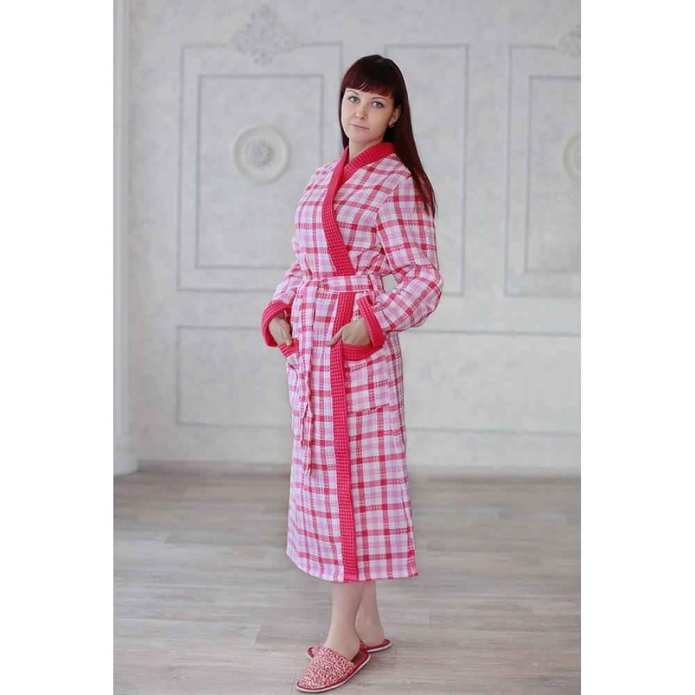 Халат женский ДУ вафельный р.46 малиновый клетка кимоно (Донецк)
