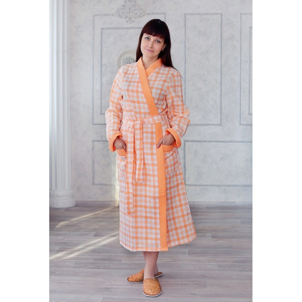 Халат женский ДУ вафельный р.50 персик клетка кимоно (Донецк)