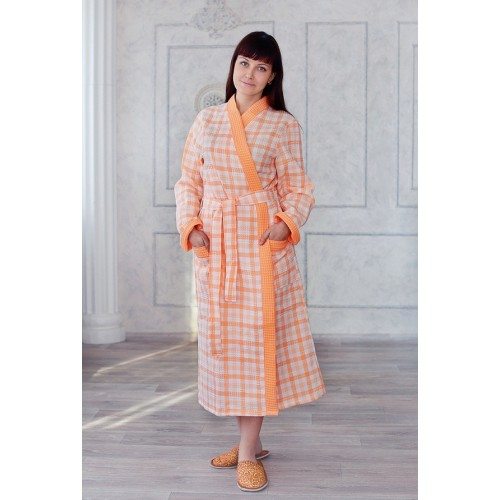 Халат женский ДУ вафельный р.54 персик клетка кимоно (Донецк)