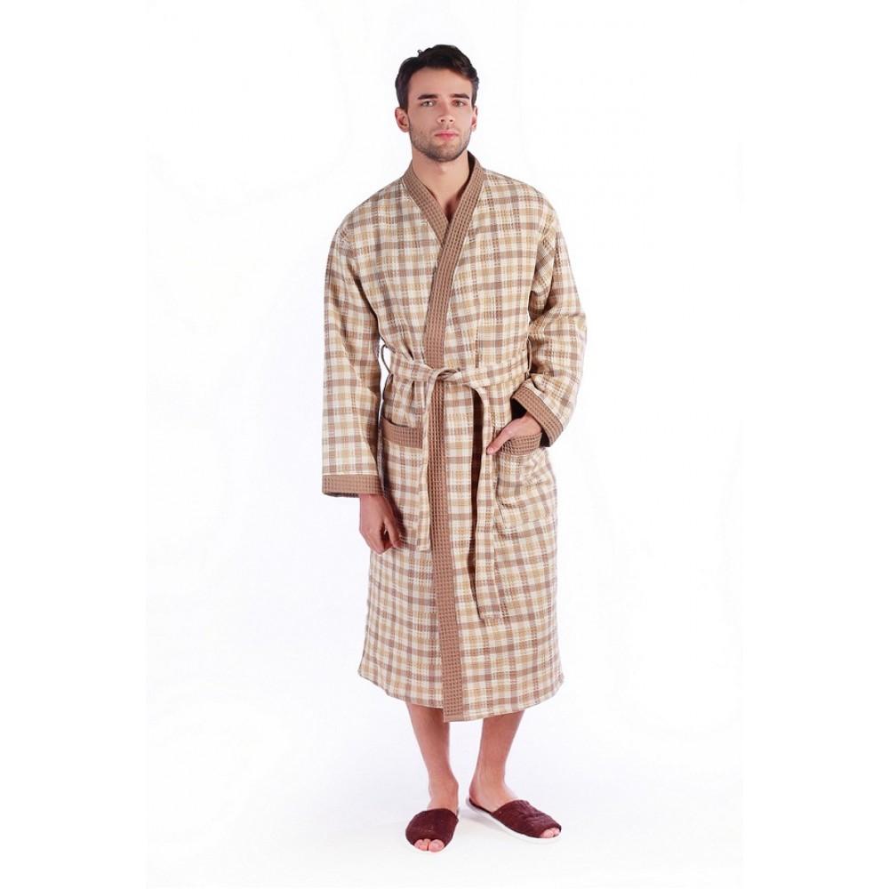 Халат дуэт ДУ вафельный р.50 беж клетка кимоно удлиненный (Донецк)