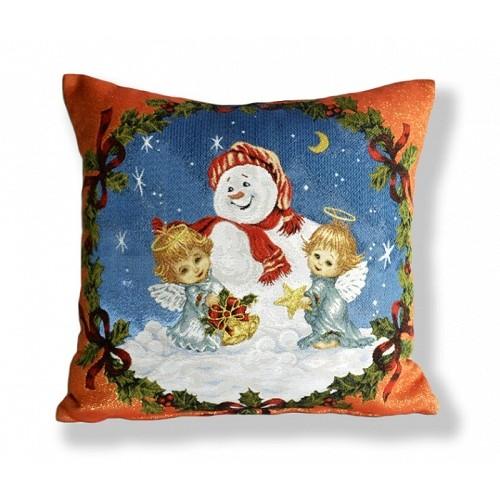 Наволочка Бельгия гобелен 45*45 Снеговик в красном