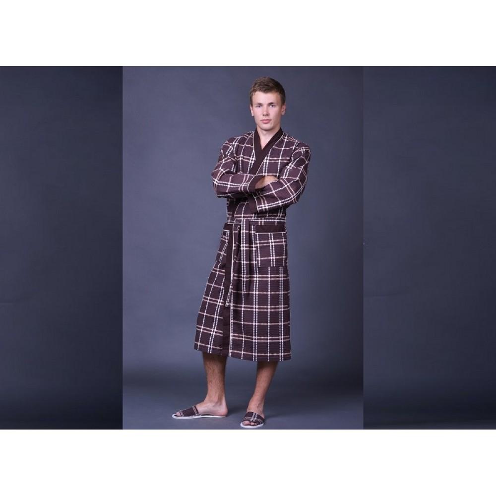 Халат муж/жен ДУ вафельн кимоно р.60 Коричневый