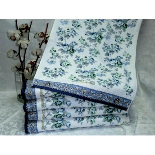 Полотенце Bolangde 100*150 Цветы 13 голубой в упаковке